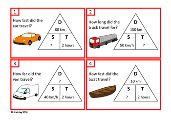 Distance, Speed, Time Task Cards, Science, Math, Autism, Special Education
