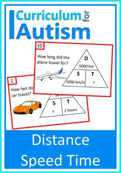 Distance, Speed, Time Task Cards, Science, Math, Autism, S