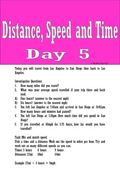 Distance Speed and Time Math Investigation Ice Cream