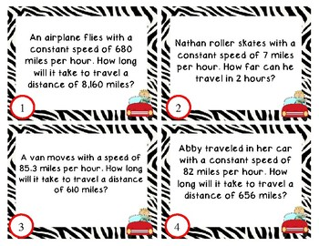 Distance, Speed, and Time Task Cards