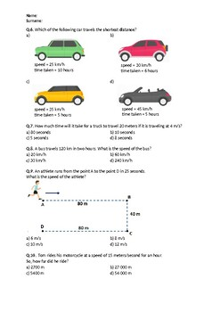 Distance, Speed and Time - Worksheet