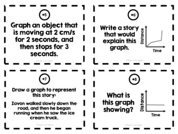 Distance-Time Graph Task Cards: 7.P.1.3, 7.P.1.4, 8.F.5