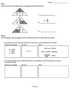 Distance, Time, and Speed Worksheets