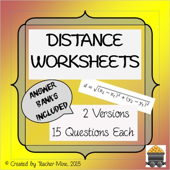 Distance Worksheets