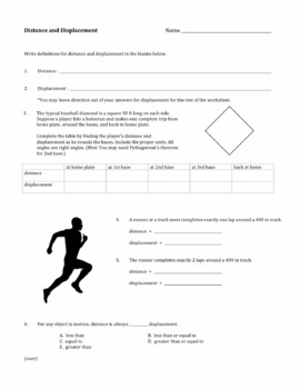 Worksheets Distance And Displacement Worksheet With Answers distance and displacement worksheet by david baxter teachers pay worksheet
