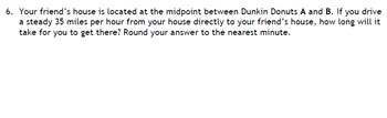 Distance and Midpoint Extension Problem (for Algebra or Geometry)
