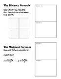 Distance and Midpoint Formula Foldable