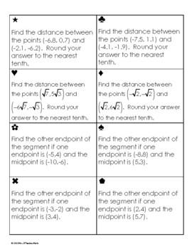 Distance and Midpoint Formula Sum Em Activity
