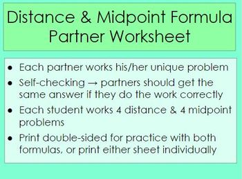 Distance and Midpoint Partner Worksheets
