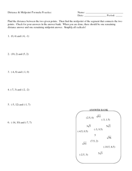 Distance and Midpoint Practice Matching Worksheet