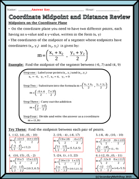 Distance and Midpoint on the Coordinate Plane Short Review/Practice