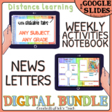 Distance learning DIGITAL bundle NEWSLETTERS + Weekly NOTEBOOK 6 tabs rainbow