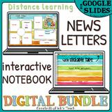 Distance learning DIGITAL bundle NEWSLETTERS + digital NOTEBOOK 10 tabs stripes