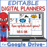 Distance learning EDITABLE SUPERHERO planner 2020 & 2021