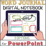 Distance learning EDITABLE WORD JOURNAL / vocabulary digit