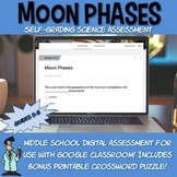 Distance learning Moon Lunar Phases SELF-GRADING quiz crossword Google Classroom