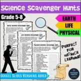 Distance Learning Science Back to School Scavenger Hunts I