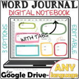 Distance learning WORD JOURNAL for ANY LANGUAGE for Google