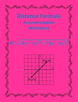 Distance of Two Points: Formula Accommodations Template