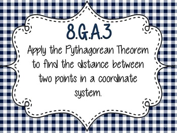 Distance on Coordinate Grid Using Pythagorean Theorem Bingo 8.G.B.8