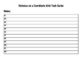 Distance on a Coordinate Grid Task Cards