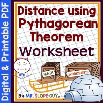 Distance using the Pythagorean Theorem PDF Worksheet 8.G.B.8 Geometry Go Math