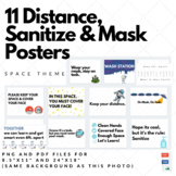 Posters, Signs-Distancing and Mask Reminder 11 Classroom Posters