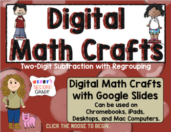 Distant Learning Math Crafts 2-Digit-Subtraction Regrouping- Google Classroom