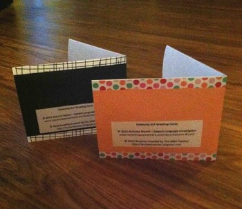 Distinctly SLP Greeting Cards (7 pre-written and 7 blank inside cards)!