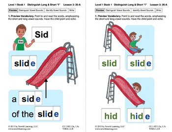 "Distinguish Long & Short ""I"": Lesson 3, Book 1 (Newitt Grade 1 Prereading)"