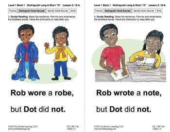 "Distinguish Long & Short ""O"": Lesson 2, Book 1 (Newitt Grade 1 Prereading)"
