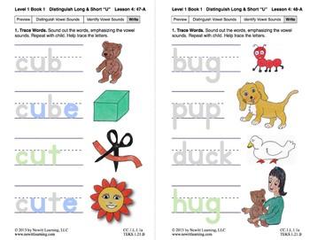 "Distinguish Long & Short ""U"": Lesson 4, Book 1 (Newitt Grade 1 Prereading)"