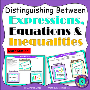 Distinguishing Between Expressions, Equations and Inequalities -Math Station
