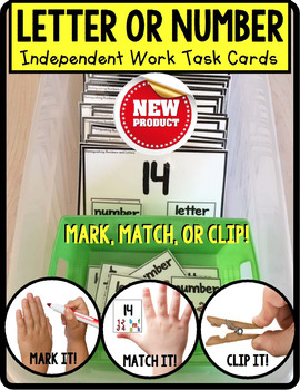 "Distinguishing LETTERS and NUMBERS Task Cards ""Task Box Filler"" for Autism"