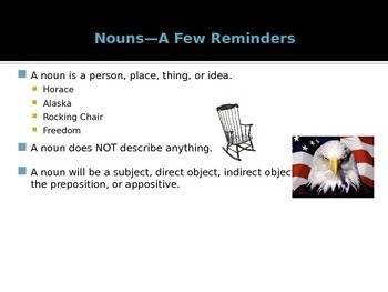 Distinguishing Nouns, Pronouns, and Adjectives Power Point Presentation