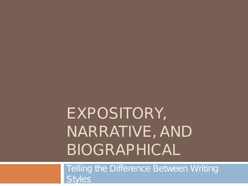 Distinguishing between narrative, expository, and biographical writing