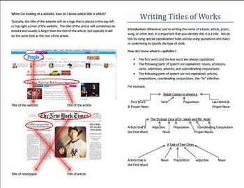Distinguising and Formatting Titles of Works (Common Core Skill)