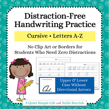 Distraction Free Handwriting Practice - Cursive Upper & Lower Case w/out Arrows