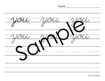 Distraction Free Handwriting Practice - Print & Cursive Sight Words w/o Arrows