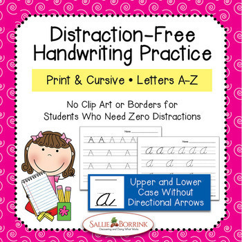 Distraction Free Handwriting Practice - Print & Cursive Letters Bundle w/o Arrow
