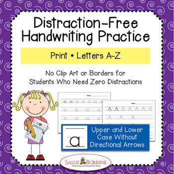 Distraction Free Handwriting Practice - Print Upper & Lower Case without Arrows