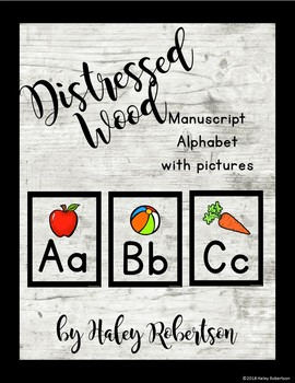 Distressed Wood alphabet WITH pictures