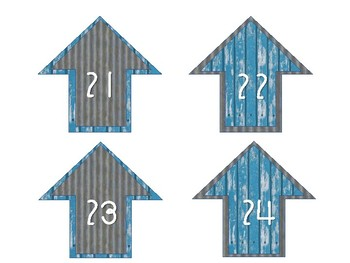 Distressed Blue Wood and Metal Numbered Arrow Cutouts