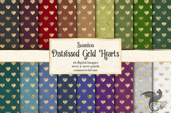 Distressed Gold Hearts Digital Paper