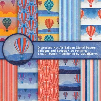 Hot Air Balloon Digital Paper, 10 Printable Scenic Summer
