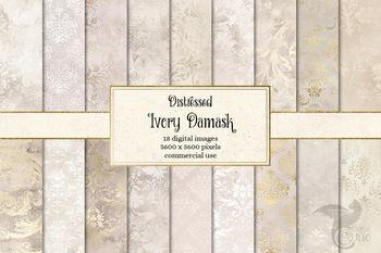 Distressed Ivory Damask Digital Paper