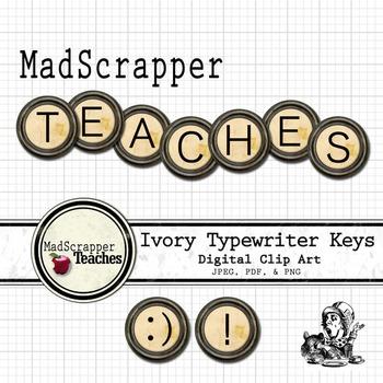 Distressed Ivory Typewriter Keys Digital Clipart Color
