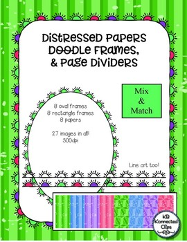 Distressed Papers, Doodle Frames (Oval, Rectangle) & Page Dividers