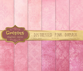 Distressed Pink Damask Textures Digital Paper