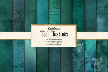 Distressed Teal Textures, printable digital paper